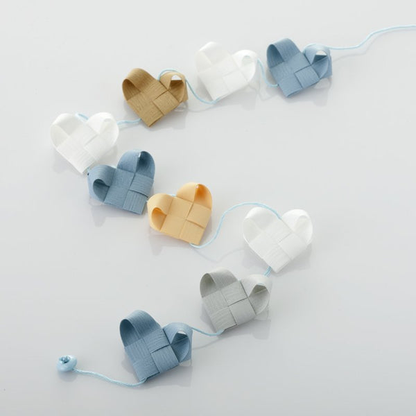 White & Gray Blue - Heart garland no 12