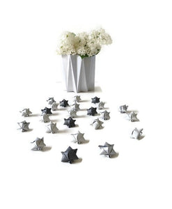 Mini cube stars for table or gift decoration 20 pcs - 4 gray colors