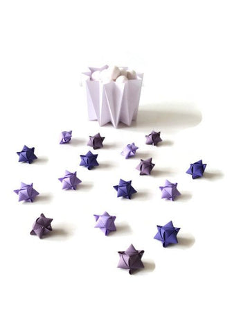 Mini cube stars for table or gift decoration 15 pcs - 6 purple colors