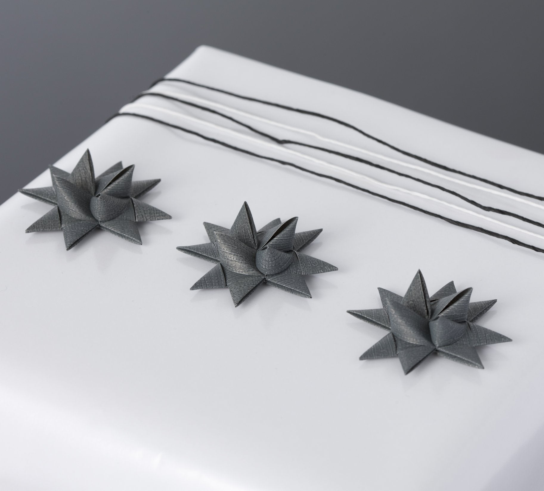 Dark Gray half star with tape S -12 pcs