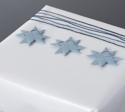 Gray Blue flat star with tape S - 12 pcs