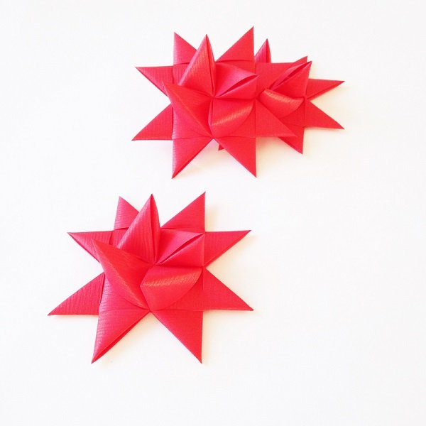 Red half star with tape L - 3 pcs