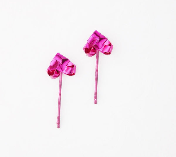 Cerise heart hairpins a set of two