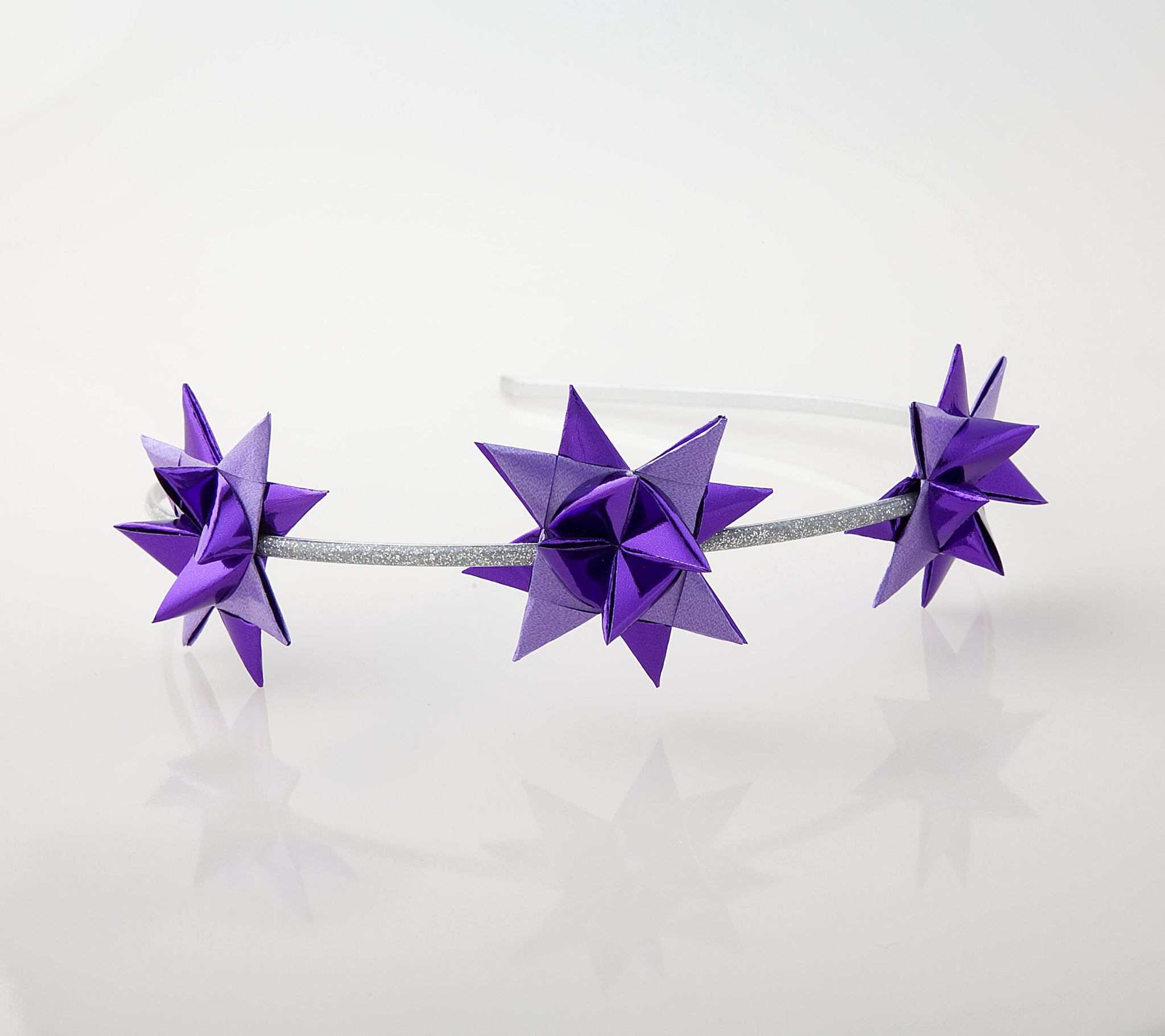 Silver headband with purple stars