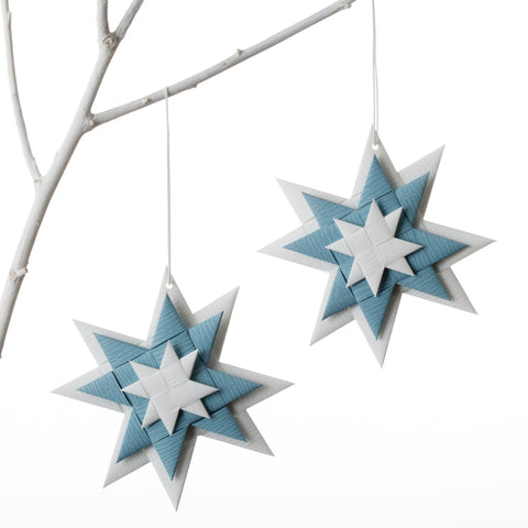 Flat 3D star - White & Gray Blue