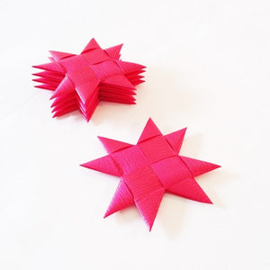 Cerise flat star with tape M - 5 pcs