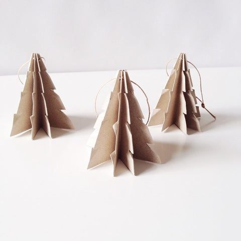 Christmas tree Linen recycle paper - 3 pcs