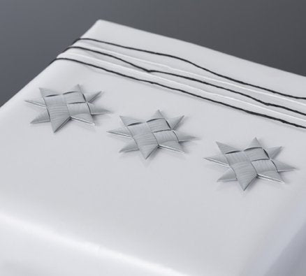 Silver flat star with tape S - 12 pcs