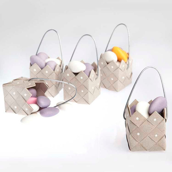 Basket rustic recycle paper with steel handle - 3 pcs
