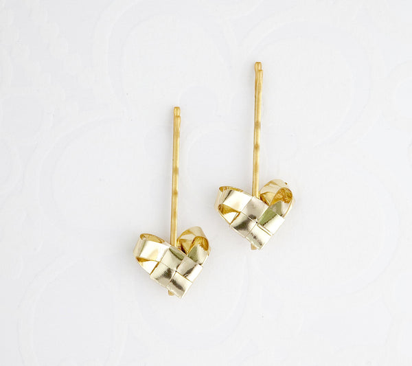 Gold hairpins with hearts a set of two