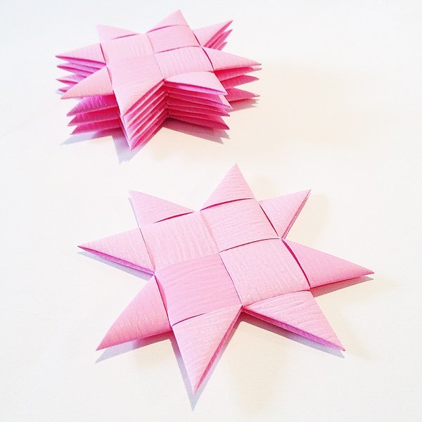 Pink flat star with tape M - 5 pcs