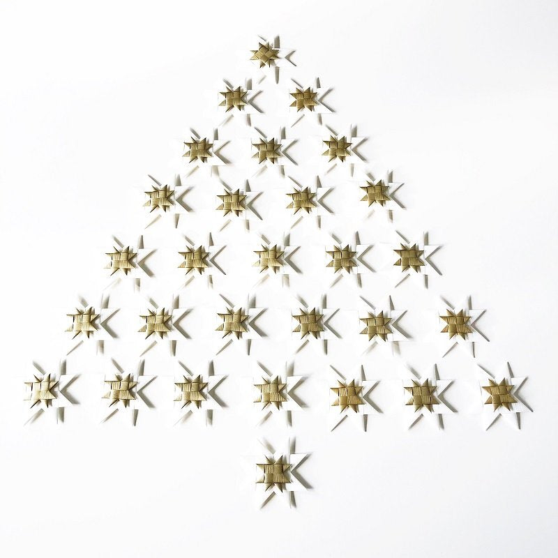 White flat star with tape M - 5 pcs