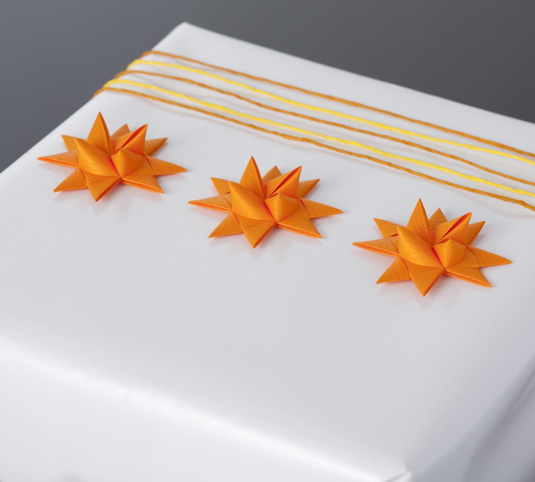 Orange half star with tape S - 12 pcs