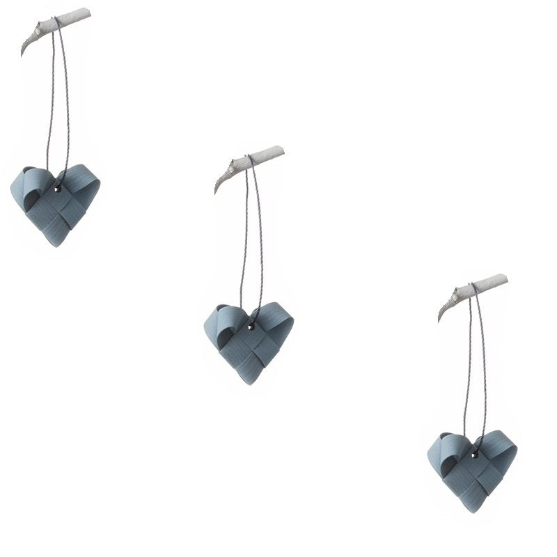 Gray Blue hearts S - 3 pcs