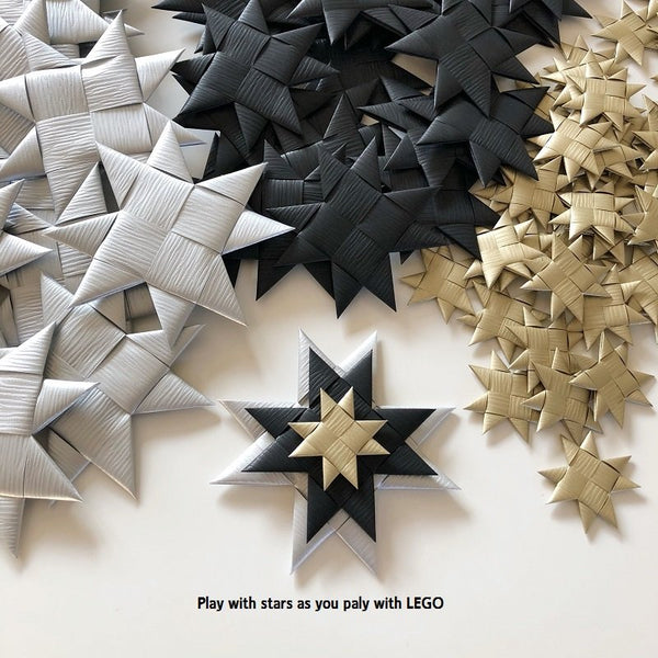 Black flat star with tape M - 5 pcs