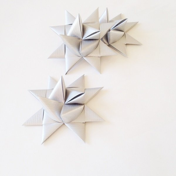 Silver half star with tape L - 3 pcs