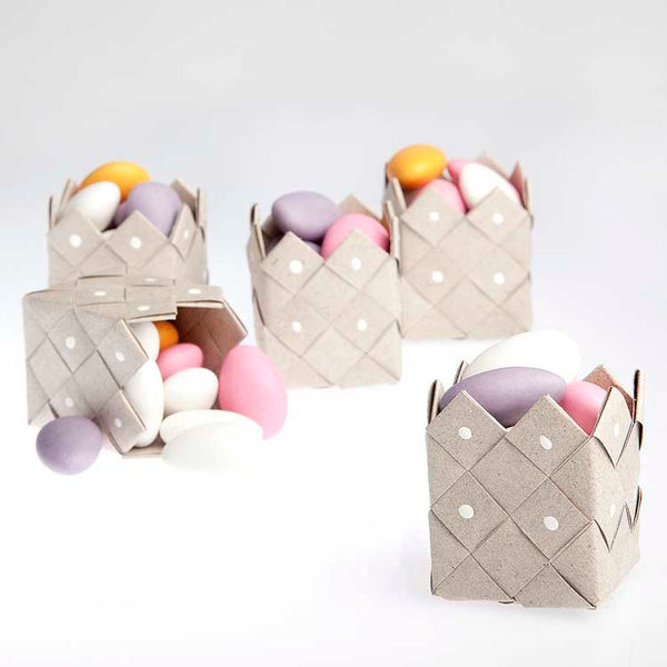 Basket rustic recycle paper - 3 pcs