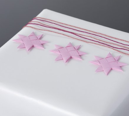 Pink flat star with tape S - 12 pcs