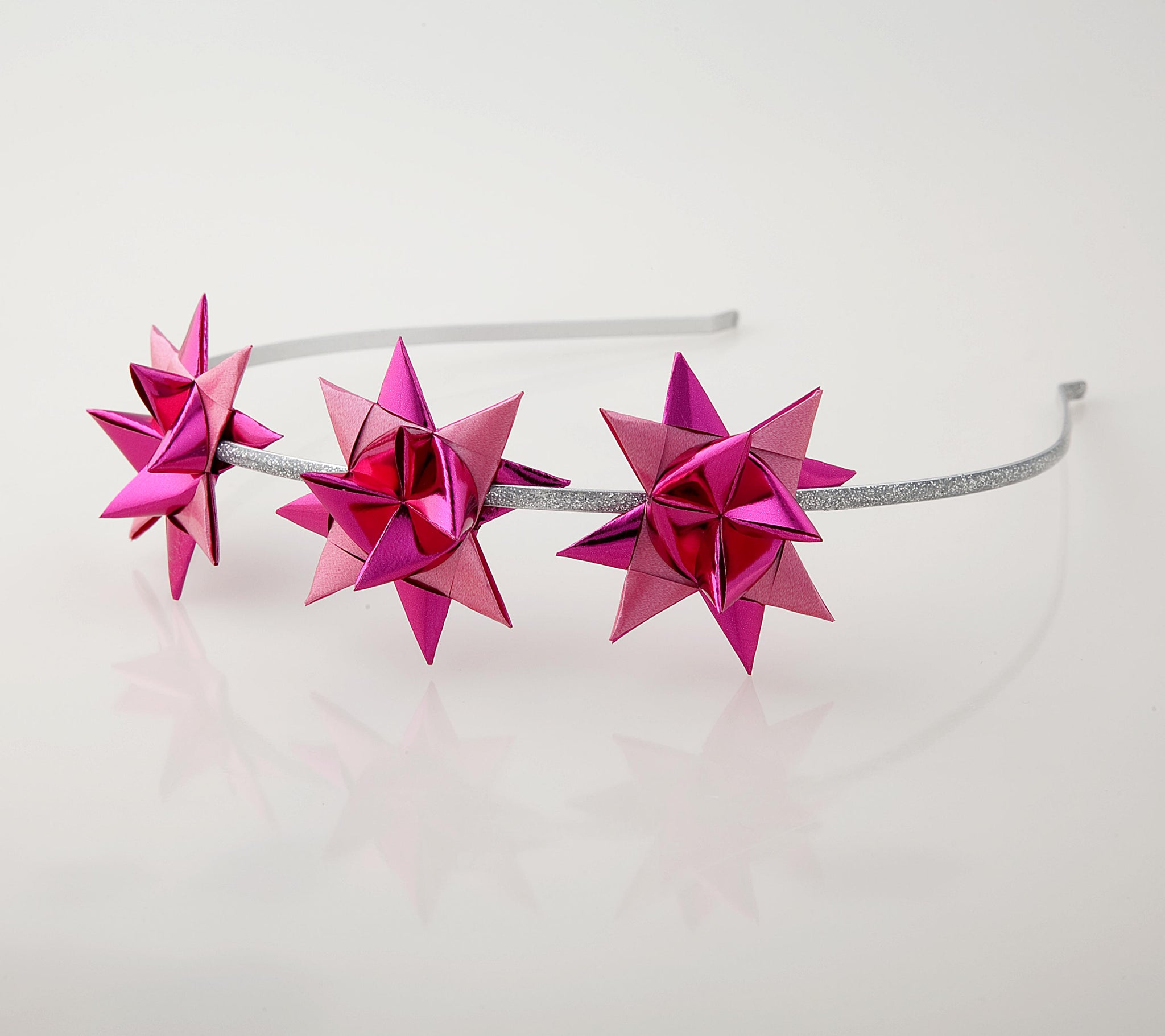 Silver headband with Cerise Metallic stars