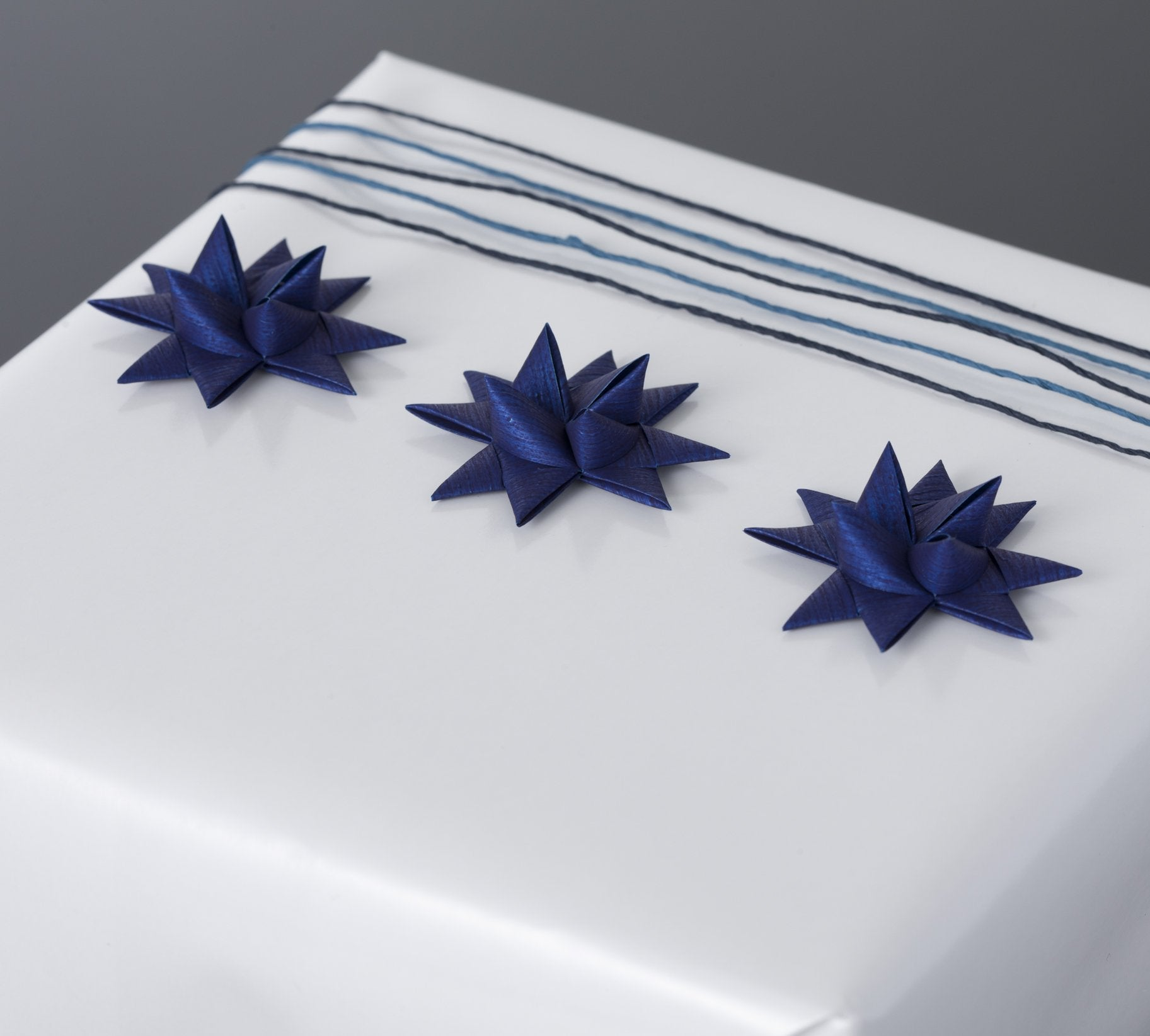 Marine Blue half star with tape S - 12 pcs