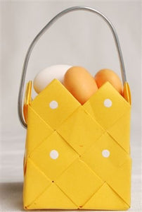 Basket Yellow with steel handle - 3 pcs