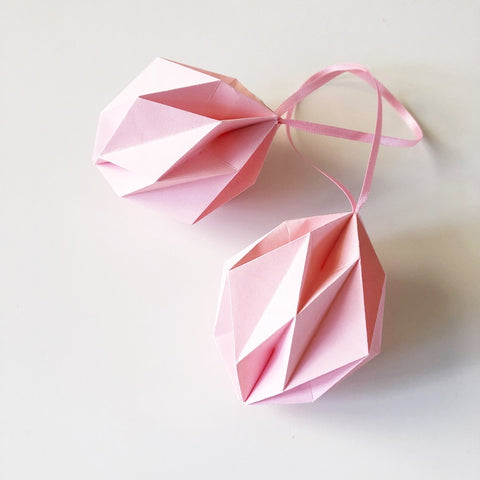 Pink origami easter eggs - 2 pcs