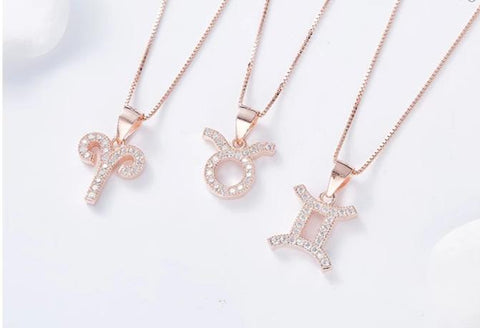 Zodiac Sign Necklace with Rhinestones | Rose Gold
