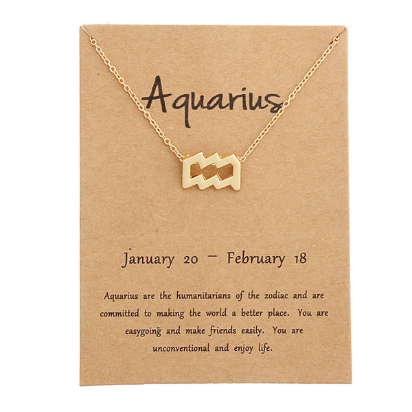 aquarius necklace, zodiac necklace