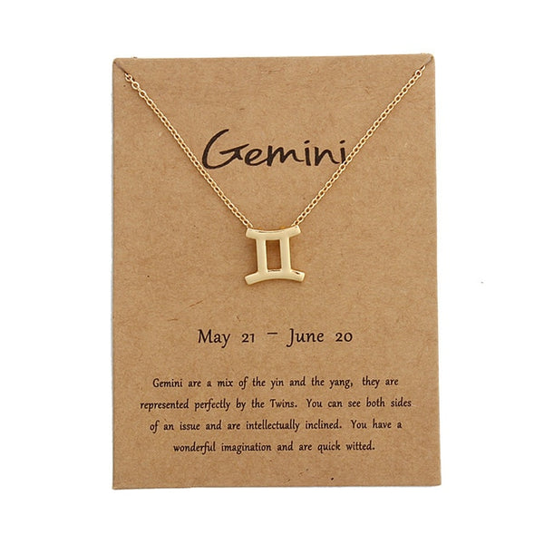 gemini necklace, zodiac necklace