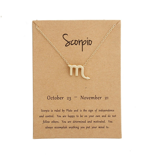 scorpio necklace, zodiac necklace