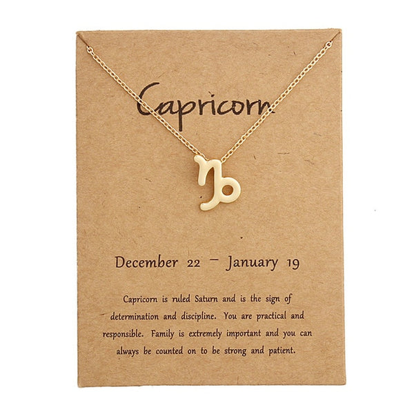 capricorn necklace, zodiac necklace