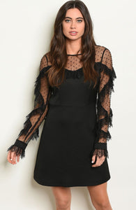 Fancy Neck Sleeves Dress