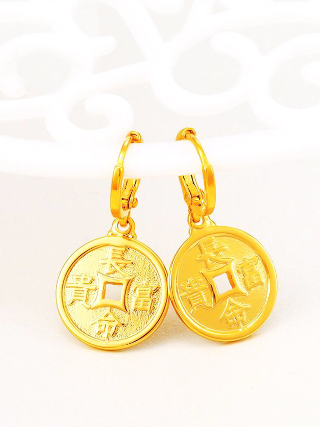 Chinese Golden Blessings Earrings 长命富贵/出入平安