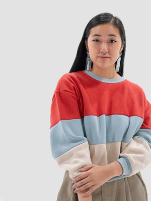Red Color Blocks Sweatshirt