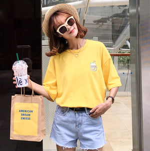 Banana Milk Embroidered Tee