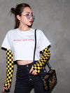 Yellow Checker Cropped Long Sleeve
