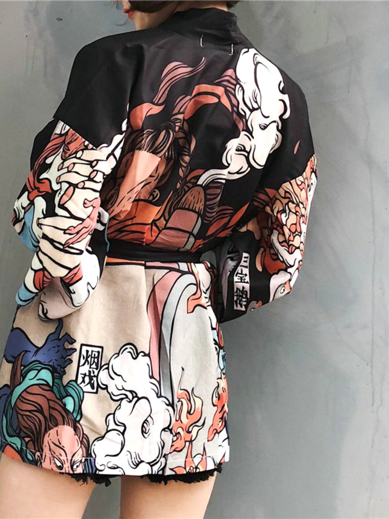 Traditional Japanese Ukiyo-e Graphic Kimono