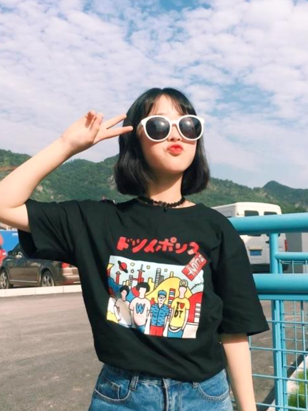 Harajuku Colorful Print Tee - Women's