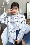 Funny Faces Button Up Shirt in White