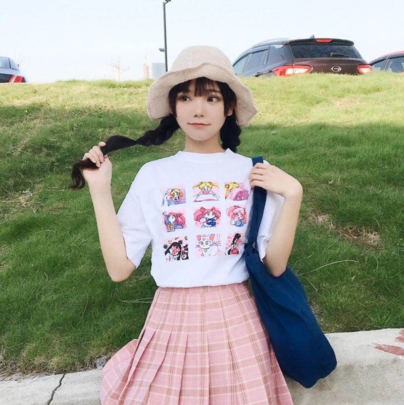 Vintage Sailor Moon Blocks Tee in White