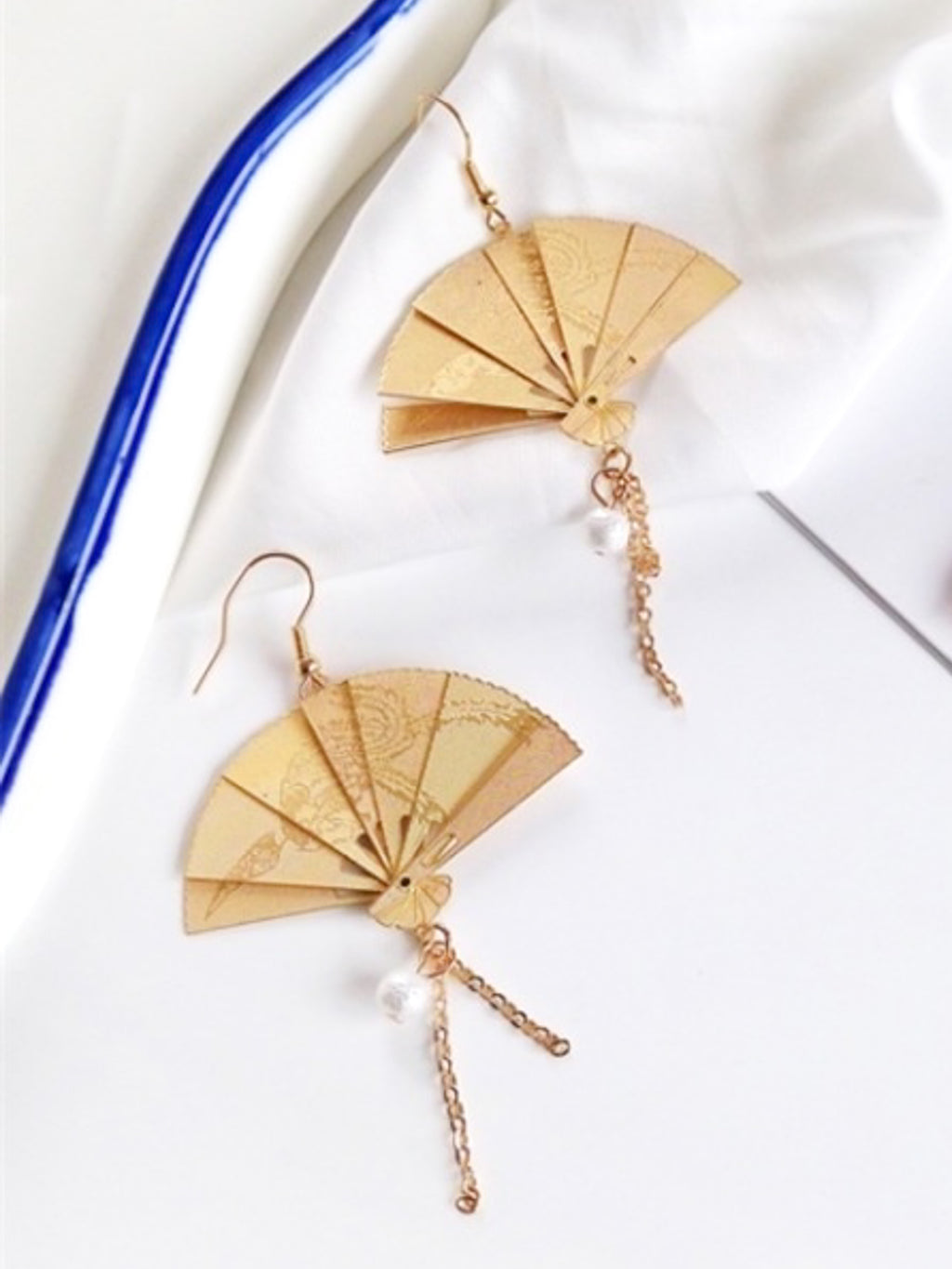 Lucky Golden Fan Earrings
