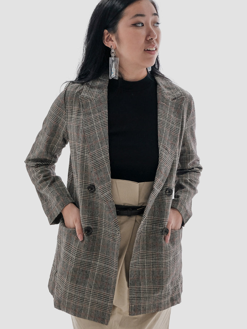 Casual Grey Plaid Business Jacket