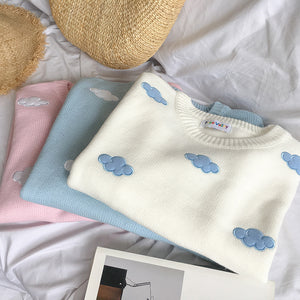 Cloudy Sweater Weather Pullover in Light Pink