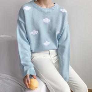 Cloudy Sweater Weather Pullover in Sky Blue