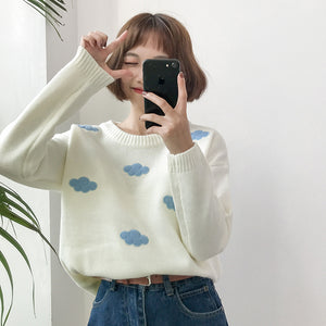 Cloudy Sweater Weather Pullover in White