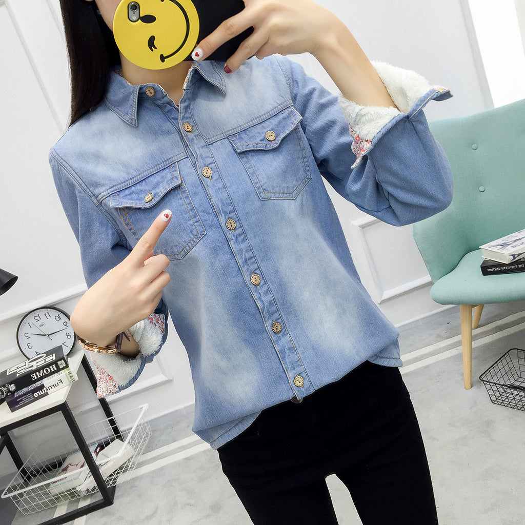 Itaewon Velvet Inner Denim Shirts in Light Blue