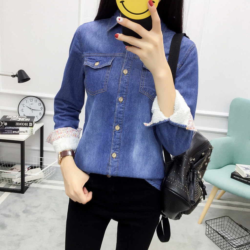 Itaewon Velvet Inner Denim Shirts in Dark Blue