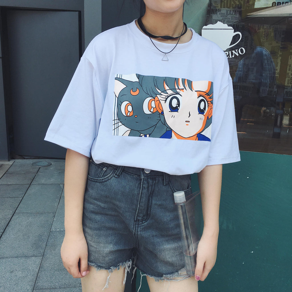 Sailor Mercury & Luna Tee in White