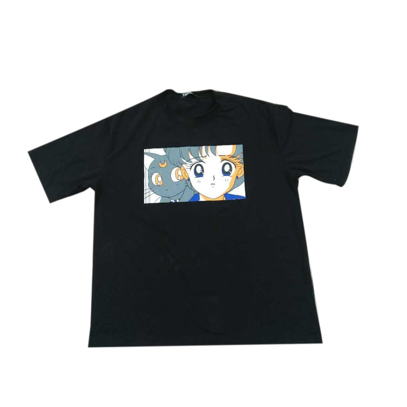 Sailor Mercury & Luna Tee in Black