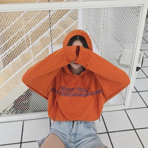 "Vintage ""NEVER TRUST"" Light Hoodie in Caramel Orange"
